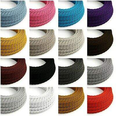 Twisted Fabric Braided Cable - Coloured Lighting Flex - 3 Core Italian Vintage