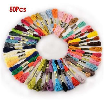 50 Stitch Cotton Embroidery Thread Floss/Skeins ASSORTED Colours UK