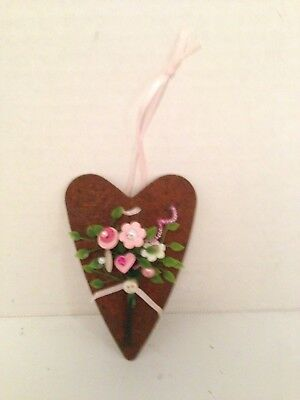 VTG Valentine Button Bokay/Rusty Heart-Country Rustic Prim Shabby Cottage Chic