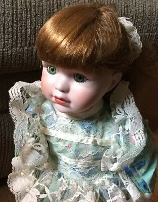 "15"" Collectible Red Hair, Green Eyed Porcelain Doll, Original Box & Stand"