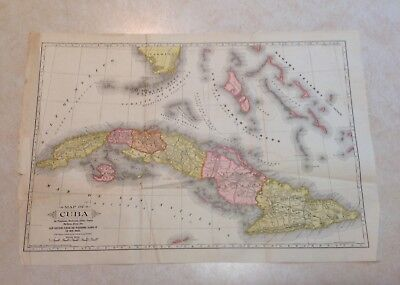 "1897 Antique MAP of CUBA by Mast, Crowell & Kirkpatrick 14"" x 20.5"" as Found"