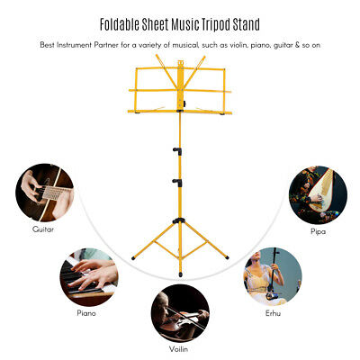 Adjustable Folding Sheet Music Tripod Stand Holder Heavy Duty Yellow+Case O5N0