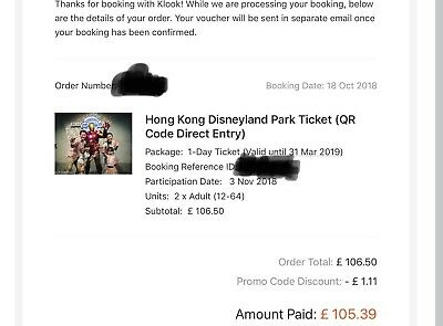 2 Hong Kong Disney Tickets use by 31st March 2019