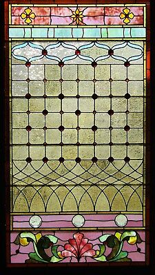 Victorian Antique Stained Glass Jeweled Landing Window 40 By 72