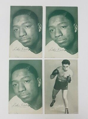 💥 Lot 4 BOXING ARCADE EXHIBIT CARDS -LUTHER RAWLINGS-TONY PELLONE