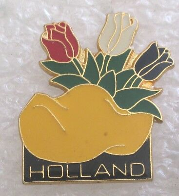 Holland The Netherlands Travel Souvenir Collector Pin-Dutch Clogs Tulips