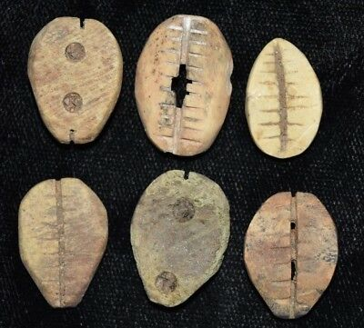 """Set of 6 Ancient Chinese """"Cowrie Shell"""" Money Coins/Beads 1750-1150 BC R52"""