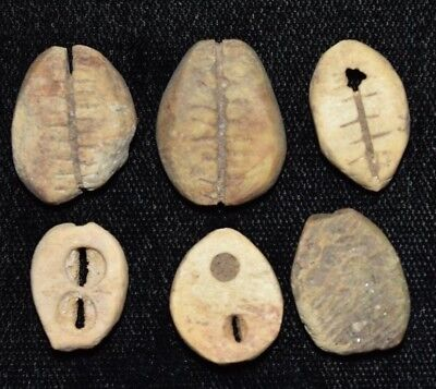 """Set of 6 Ancient Chinese """"Cowrie Shell"""" Money Coins/Beads 1750-1150 BC N92"""