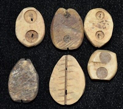 """Set of 6 Ancient Chinese """"Cowrie Shell"""" Money Coins/Beads 1750-1150 BC H51"""