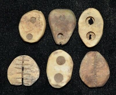 """Set of 6 Ancient Chinese """"Cowrie Shell"""" Money Coins/Beads 1750-1150 BC B77"""