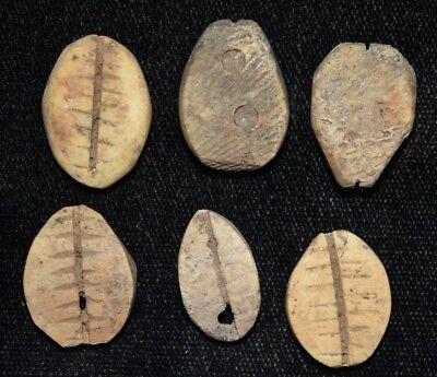 """Set of 6 Ancient Chinese """"Cowrie Shell"""" Money Coins/Beads 1750-1150 BC G36"""