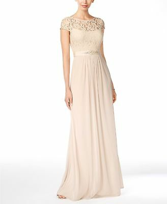 $520 Adrianna Papell Women'S Beige Embellished Lace Cap-Sleeve Gown Dress Size 8