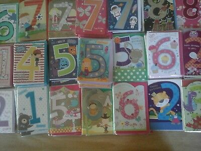 50 CHILDRENS AGERS CARDS, WHOLESALE JOBLOT GREETING CARDS 1 to 8 years