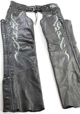 womens harley davidson chaps L large black teal cream studs studded embroidered