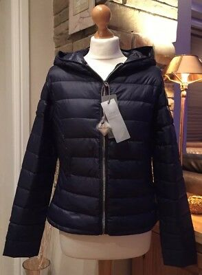 NEXT New Ladies Navy Duck Down Hooded Pack-away Jacket with Bag RRP £50 6-20