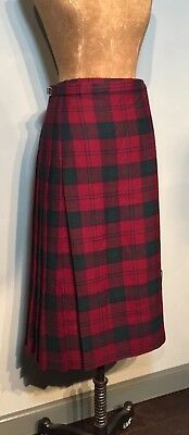 "Lindsay Modern  Tartan Knee Length Kilt Skirt 100% Wool W 30-32"" & 29 1/2"" Long"