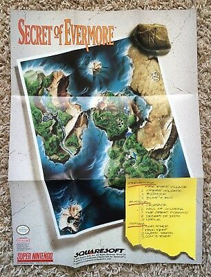Super Nintendo SNES Secret of Evermore Poster Insert Only *Authentic* *No Game*