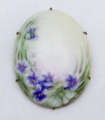 Antique Victorian Gold Filled Hand Tole Painted Violets China Pin Brooch 22306