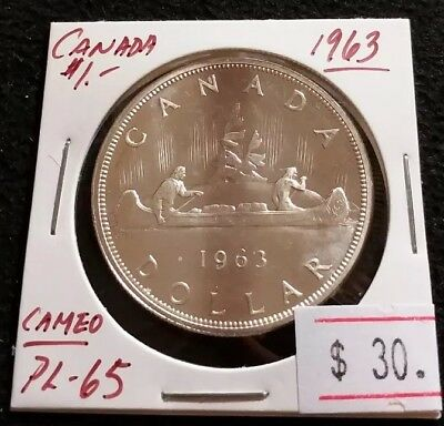 Canada 1963 Silver Dollar PL-65 Proof-Like Nice High Grade Coin (#G13)