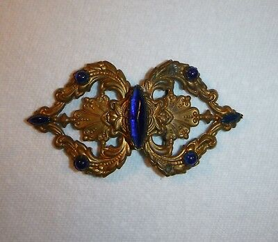 Antique Vintage Victorian 2 pc Ornate Costume Jewelry BELT BUCKLE Art Nouveau