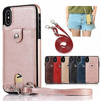 For iPhone 8/7 Plus/XR/XS Max Luxury Strap Leather Card Credit Wallet Case Cover