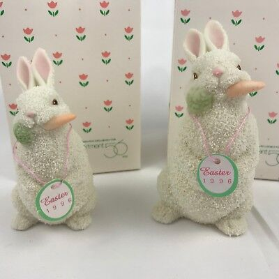 "Dept 56 Snowbunnies Set of 2 1996 Easter Bunny Rabbits 4"" 2764-2 & 5"" 2765-0 Lot"