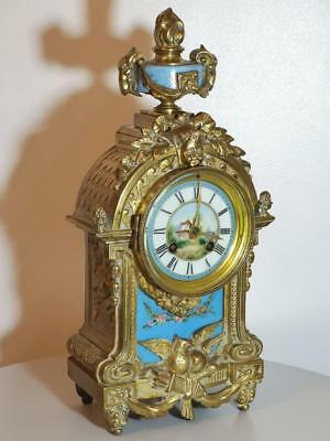 Beautiful French 8 Day Bronze & Blue Sevres Antique Mantle Clock Japy Freres