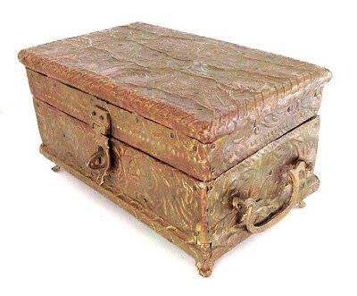 Vintage Brass Bound Jewelry Chest Treasure Box India Footed Handles