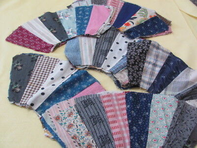43 early 1900's fan or Dresden plate cotton quilt blocks