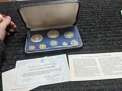 1973 Barbados Coin Proof Set 8 Coins ~ 1.9271 Troy Oz Sterling Silver .925 - #64