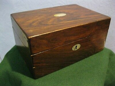Vintage/antique Veneered Sewing/jewellery Box, Interior For Resto, Lock No Key.