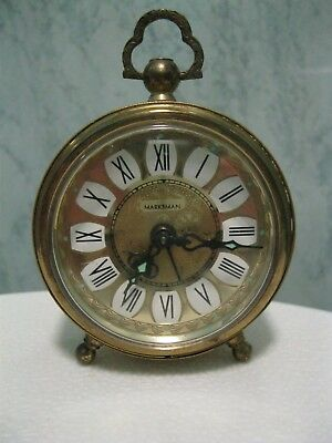 Marksman Made In West Germany Small Ornate Brass Bedside Alarm Clock, In G.w.o.