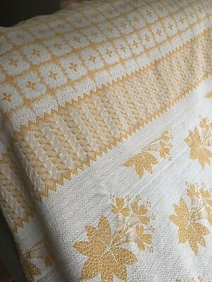 """Vintage Woven 48"""" X 82"""" Tablecloth 1960s ?By Monument Mills Orange,floral"""