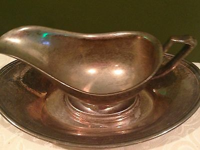 2 piece Vintage Silver Plate Bowl and TRAY GRAVY SAUCE BOAT Plated No Markings