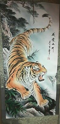 Vintage Asian wall hanging Scroll TIGER painting, Artist Signed 5 ft