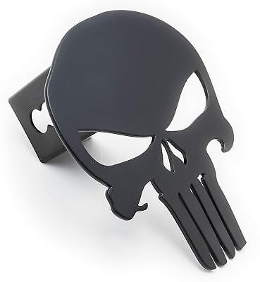 Trailer Hitch Cover, Punisher, Grade A Steel with Powder Coating (Matte Black)