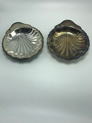 """Oneida Silversmiths Set of 2 Shell Candy Dishes Trays Vintage 7 1/2"""" Preowned"""
