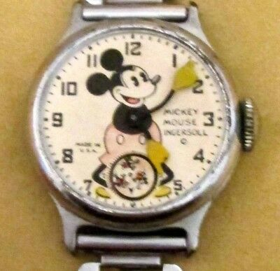 Mickey Mouse 1920's Rare Antique Wrist Watch With Mickey on Metal Band, Made USA