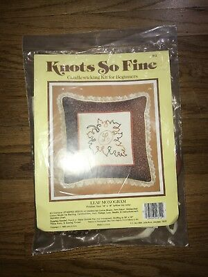 Knots So Fine Candlewicking Kit for Beginners - Leaf Monogram Pillow Top