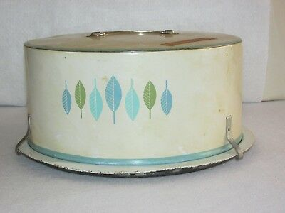 Vintage Decoware Cake Cover & Plate~Turquoise & Green Leaf Design~Stained~Fits