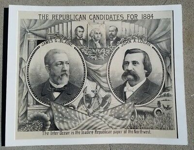 The Republican Candidates for 1884--Original Lithograph Campaign Poster