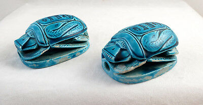Scarab Beetle Faience 2 Turquoise Glazed Ceramic Clay Impressive Large Egypt VTG