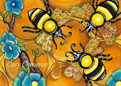 ACEO Original painting, Honey comb, Bee, Flowers, outsider art -C Cameron