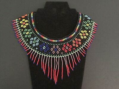 Mexican Huichol, Necklace, Art Beaded Adjustable Jewelry Hand Made N-031