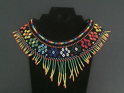 Mexican Huichol, Necklace, Art Beaded Adjustable Jewelry Hand Made N-030
