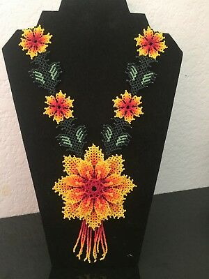 Mexican Huichol, Necklace, Art Beaded Adjustable Jewelry Hand Made N-029