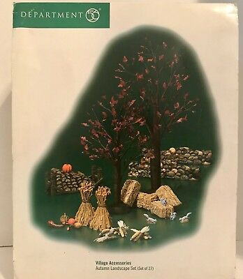 Dept 56 Autumn Landscape Set Village Accessories Halloween Snow Holiday Xmas
