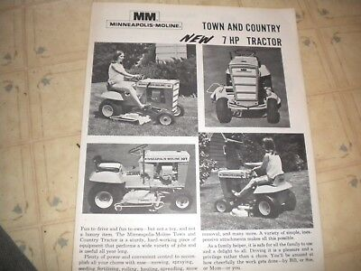 Minneapolis - Moline Town and Country 7 hp tractor brochure