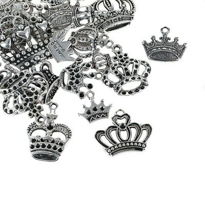 50Pcs Lots Tibetan Silver Princess Crown Charms Jewelry DIY Craft Pendant