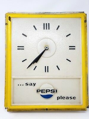 Vintage Pepsi Logo Clock Hour and Minute hand Metal Casing Face is Plastic Decor